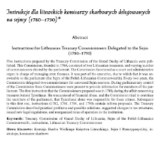 """Instructions for Lithuanian Treasury Commissioners Delegated to the Sejm (1780–1790)"". Cracow Studies of Constitutional and Legal History 13/2 (2020): 235-255"