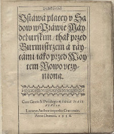 Bartłomiej Groicki, Ustawa płacej u sądów w prawie majdeburskim..., 1558 [1587, 1629, 1760] (editio)