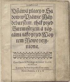 Bartłomiej Groicki, Ustawa płacej u sądów w prawie majdeburskim..., 1558 (transcriptio)