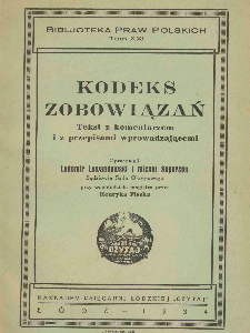 Ordinance of the President of the Republic of Poland of October 27, 1933, Code of Obligations