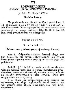 Rozporządzenie Prezydenta RP z dnia 11 lipca 1932 r. Kodeks karny. Dz. U. R. P. 1932 nr 60 poz. 571