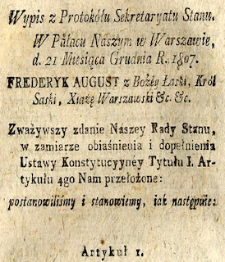 Law of Duchy of Warsaw and Kingdom of Poland after the Vienna Congress